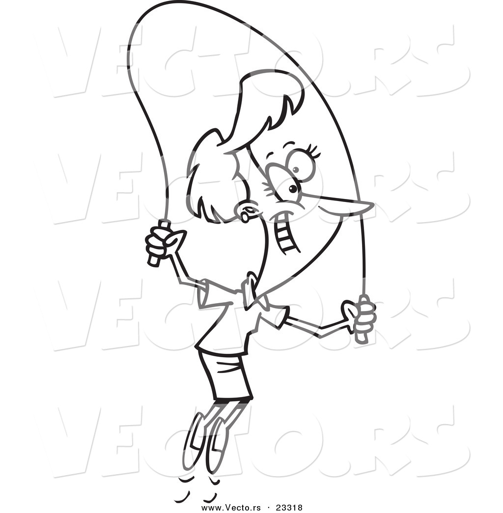Cartoon Vector of Cartoon Woman Skipping Rope - Coloring Page Outline by Ron Leishman ...