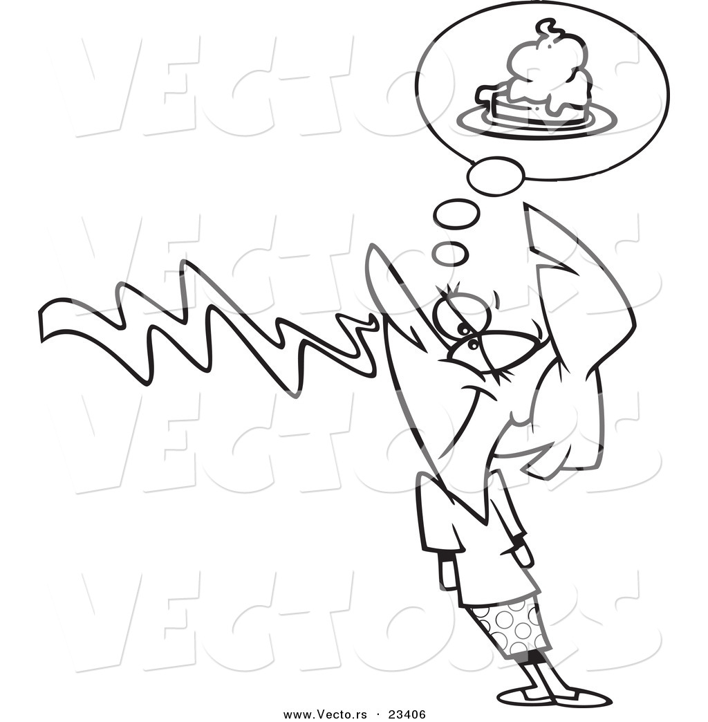 cartoon vector of cartoon woman smelling pie coloring page