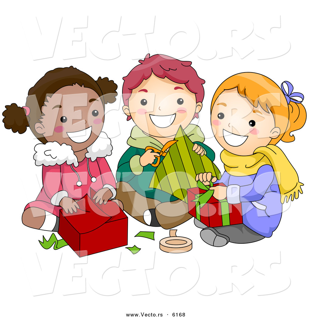Cartoon Vector of Diverse Kids Opening Gifts on Christmas ...