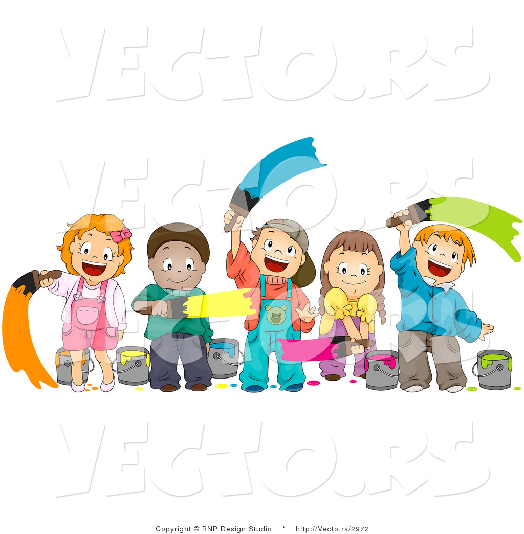cartoon vector of happy diverse kids painting together - Picture For Kid Painting