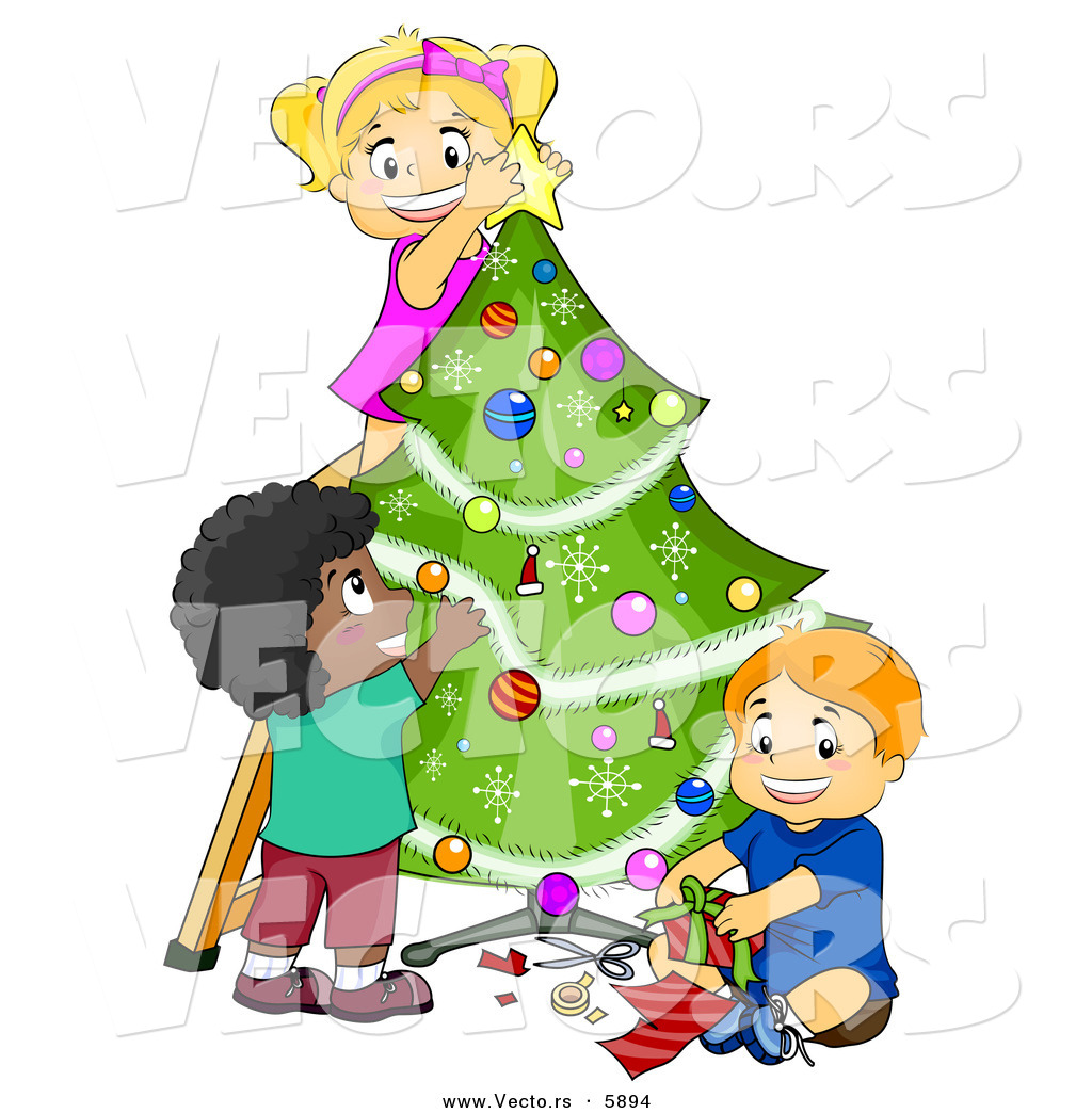 Kids Decorating For Christmas cartoon vector of happy kids decorating a christmas tree together