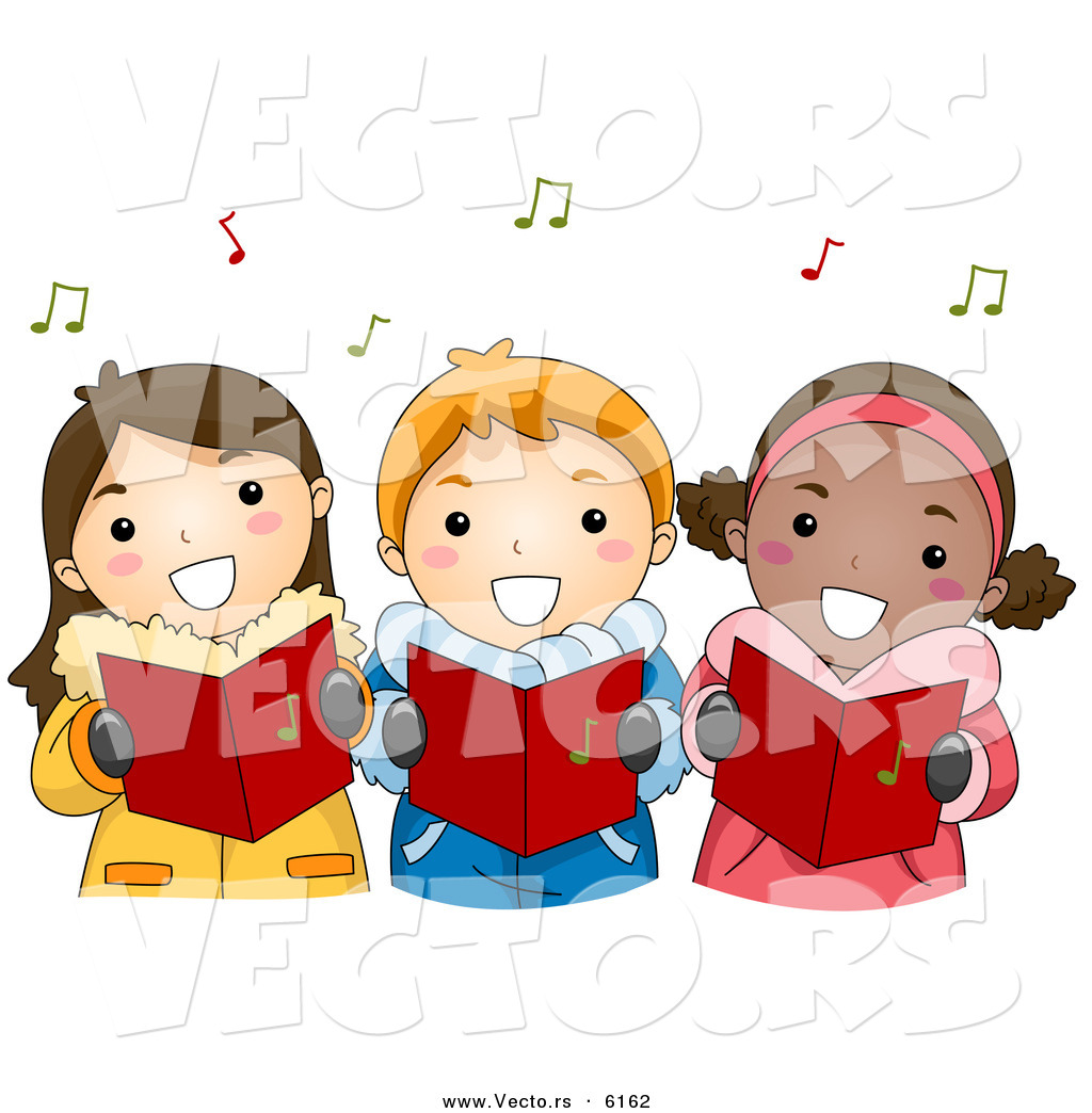 Cartoon Vector of Happy Kids Singing Carols for Christmas by BNP ...