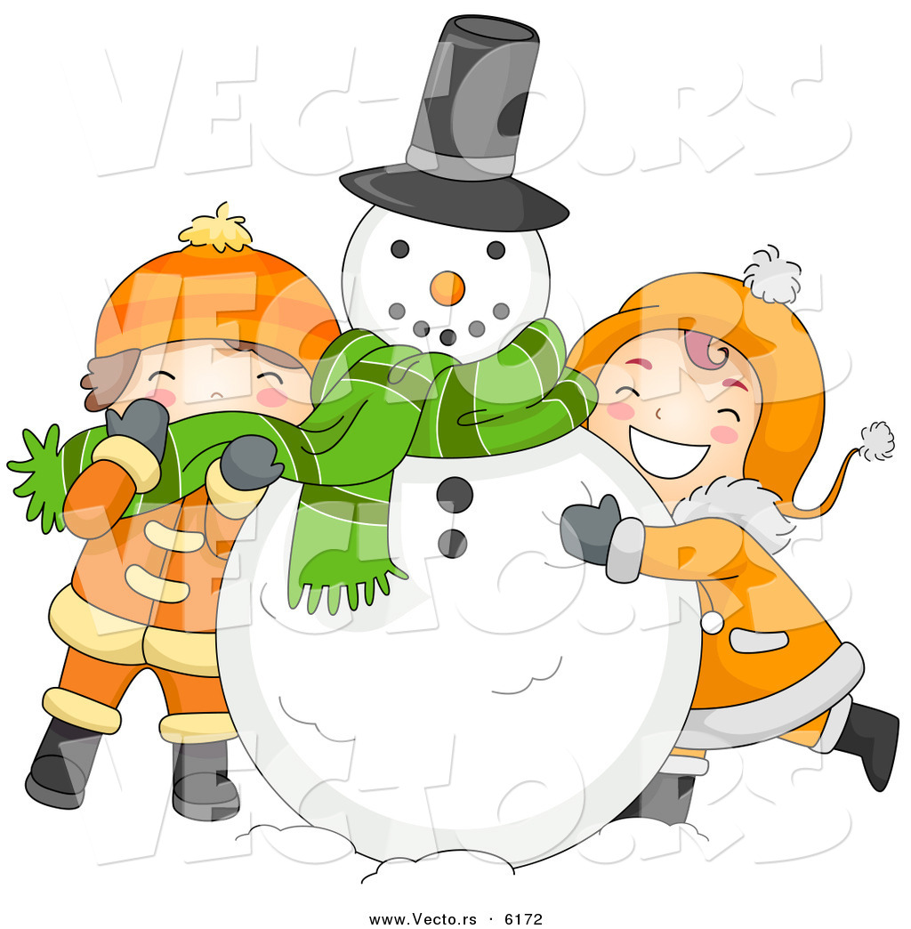 cartoon vector of kids hugging a snowman on christmas - Cartoon Pictures For Kids