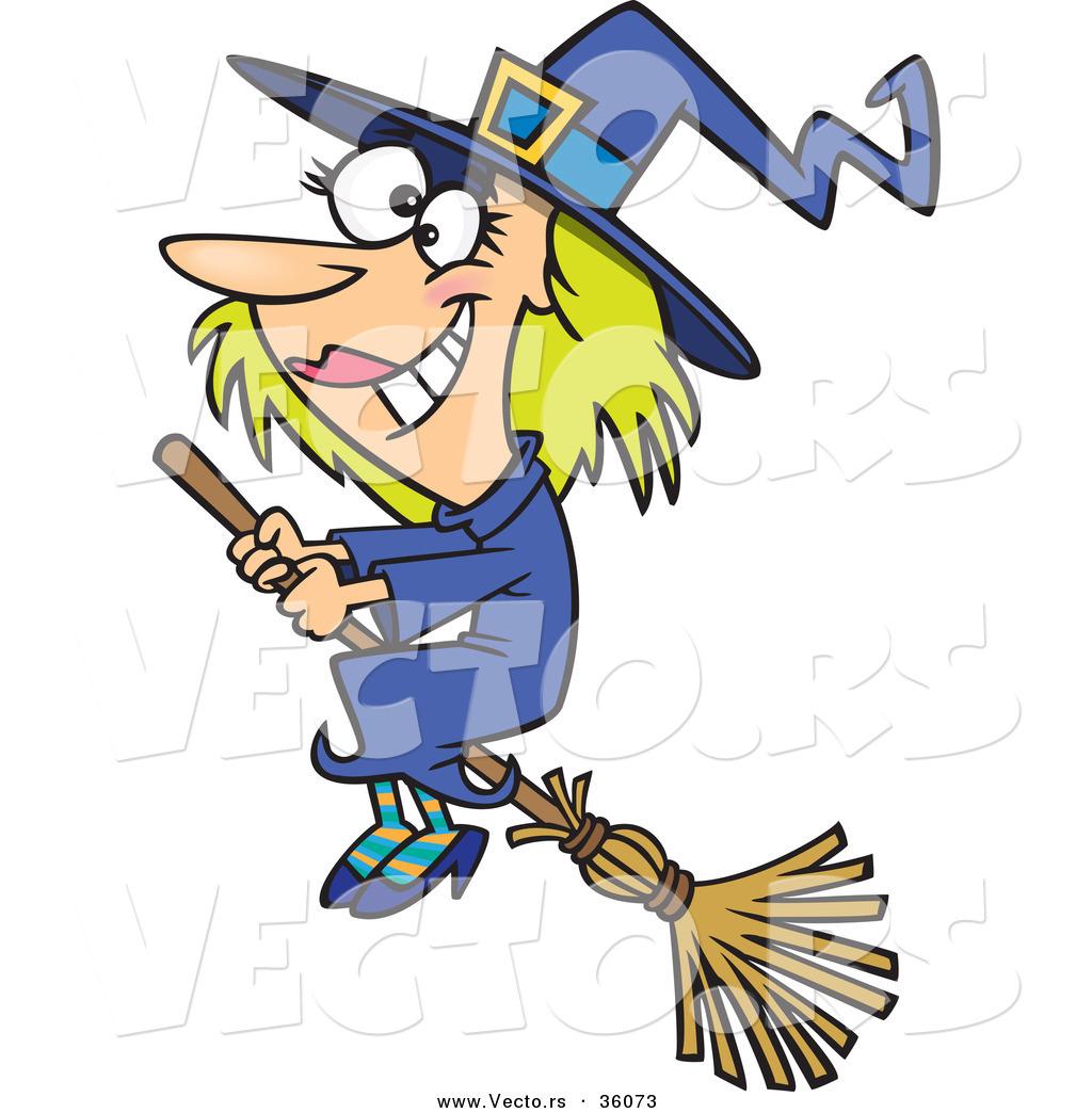 halloween vector of a good happy cartoon witch flying on a broom - Halloween Witch Cartoon