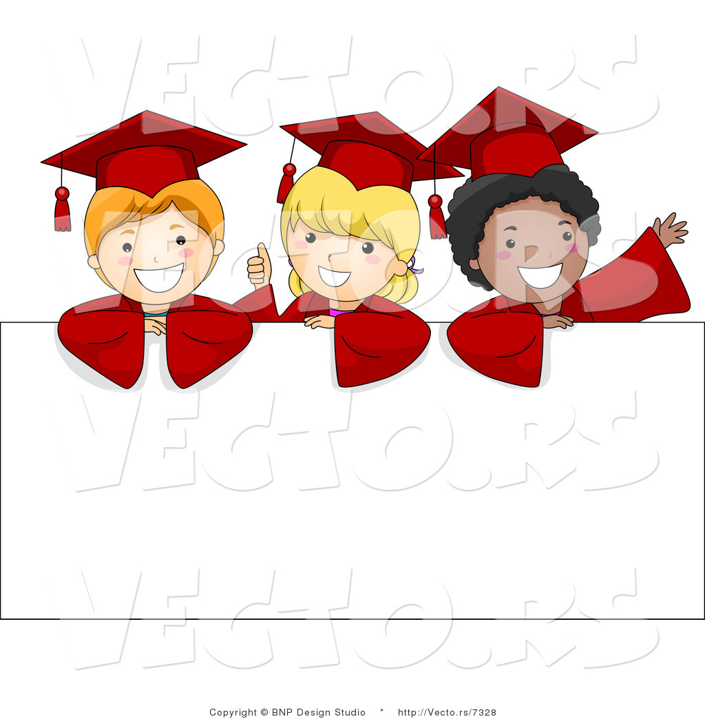 vector cartoon of 3 graduate kids standing behind a blank sign by