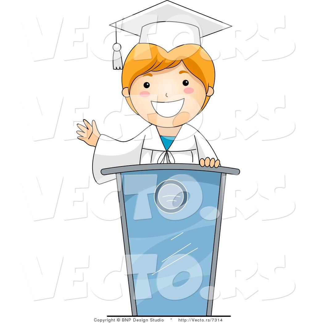 Vector Cartoon of Graduating Boy Giving a Speech by BNP Design Studio ...