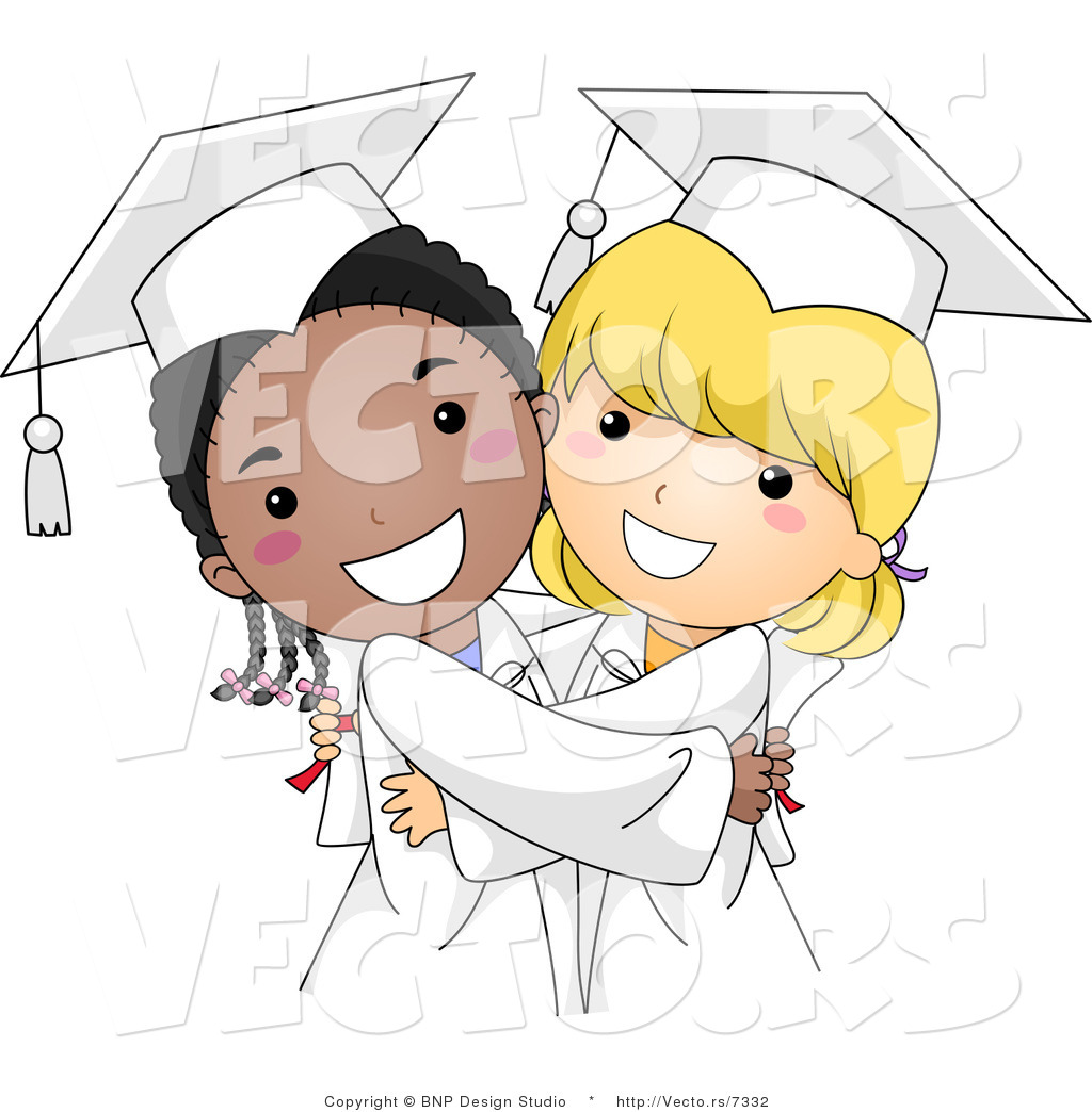 Vector cartoon of happy black and white graduate girls hugging by vector cartoon of happy black and white graduate girls hugging voltagebd Choice Image