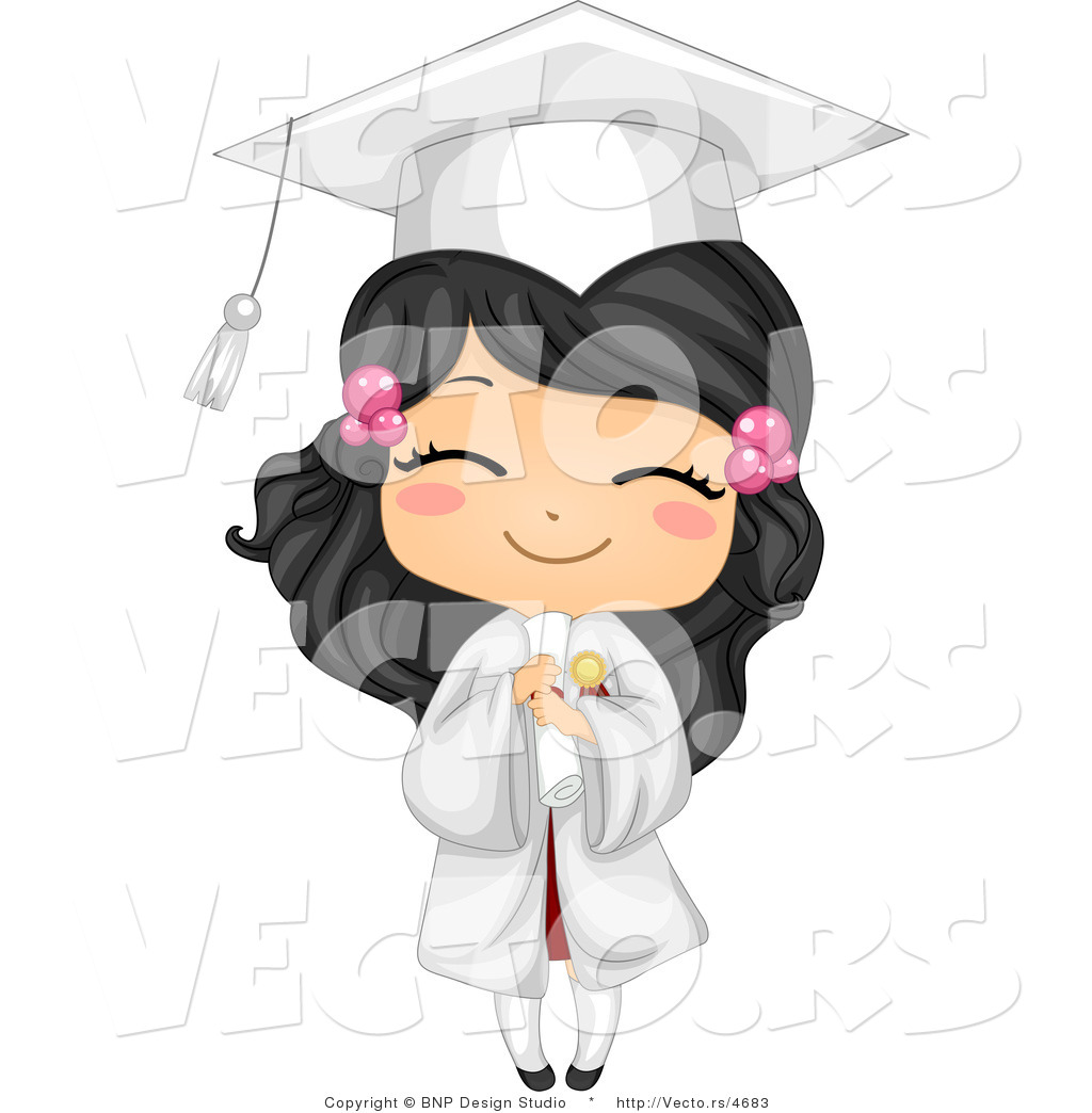 Vector Cartoon of Happy Graduating Girl Holding Her Diploma and ...