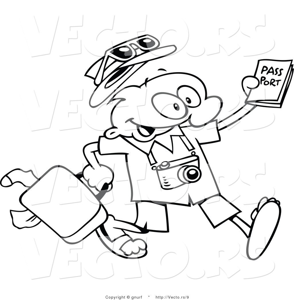 Vector Line Drawing of a Happy Cartoon Traveling Guy ...