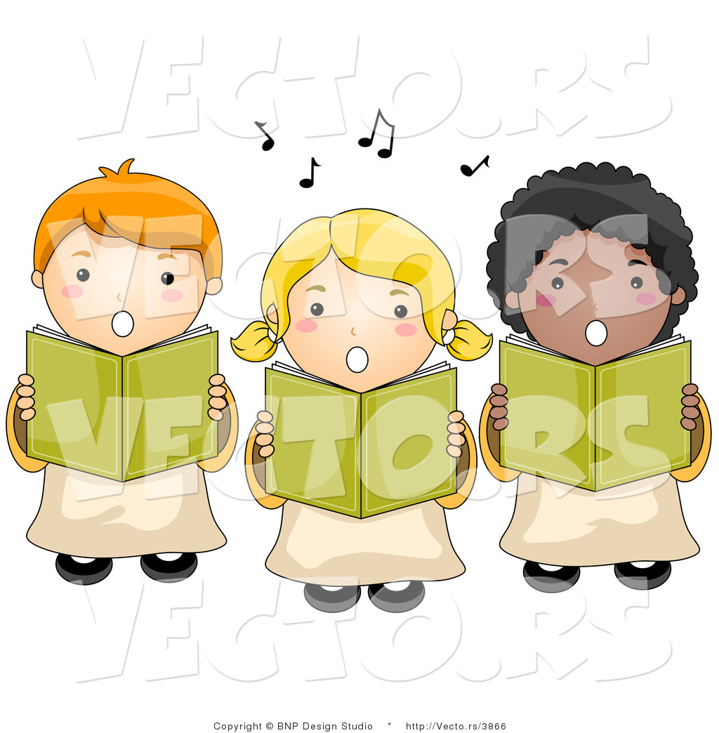 Vector of 3 Children Singing Choir by BNP Design Studio - #3866
