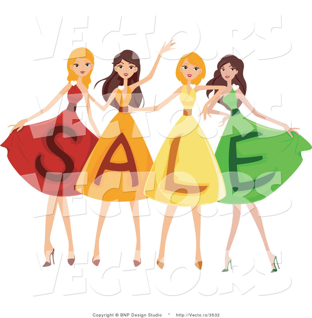 Vector of 4 Young Girls Wearing SALE Dresses by BNP Design Studio ...
