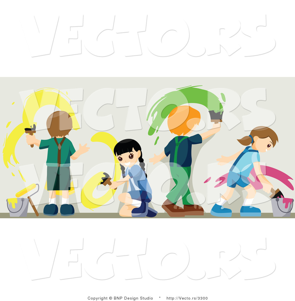 vector of 4 young kids painting a wall with bright paint