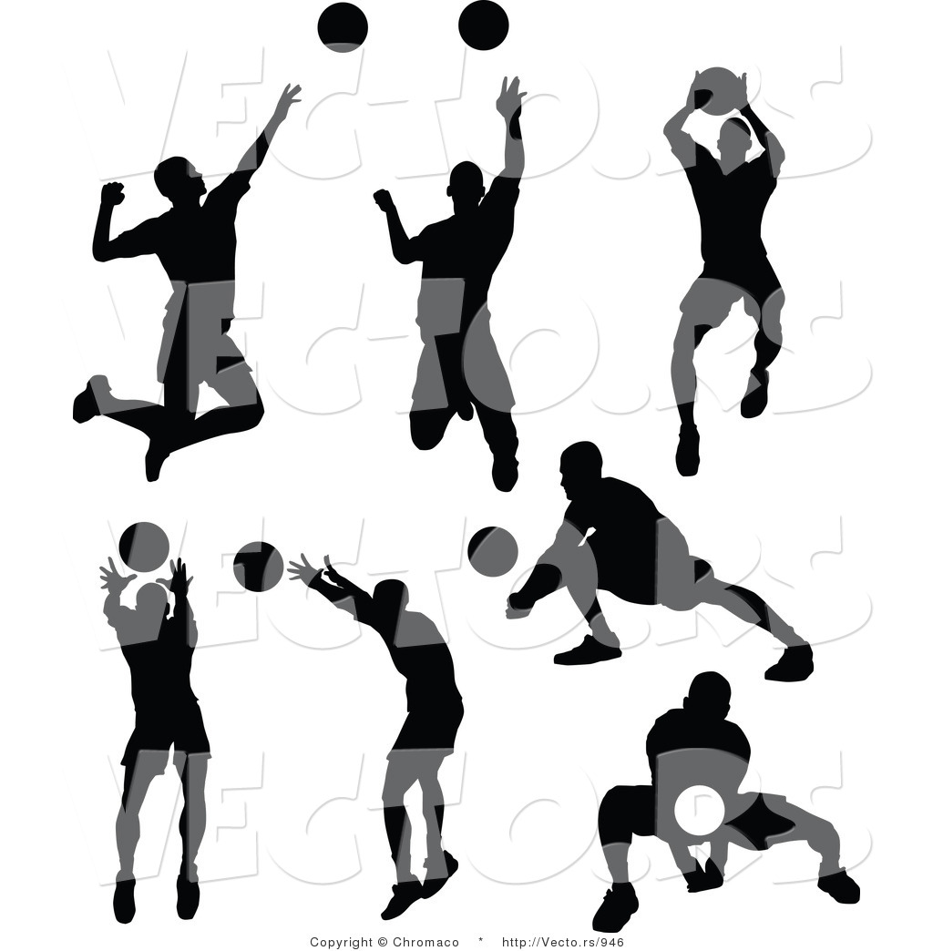 Volleyball Player Silhouette Clip Art View Image