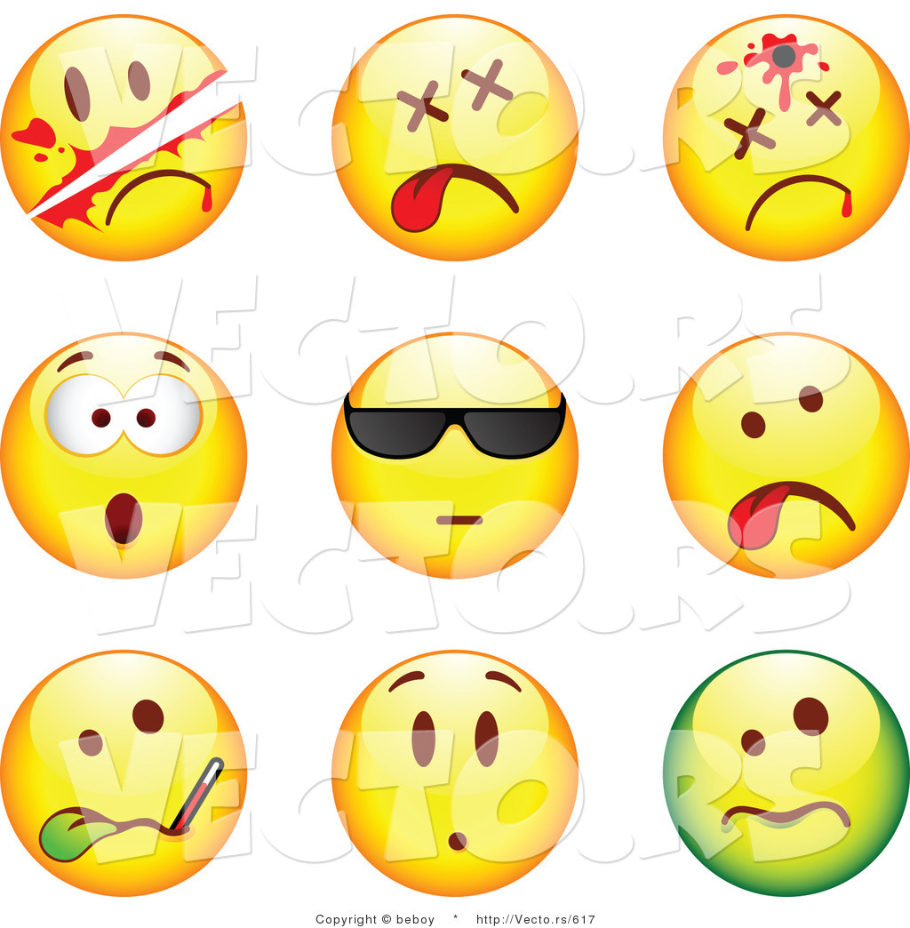 Vector Of 9 Smileys Killed Bullet To The Head Shocked Cool Ill