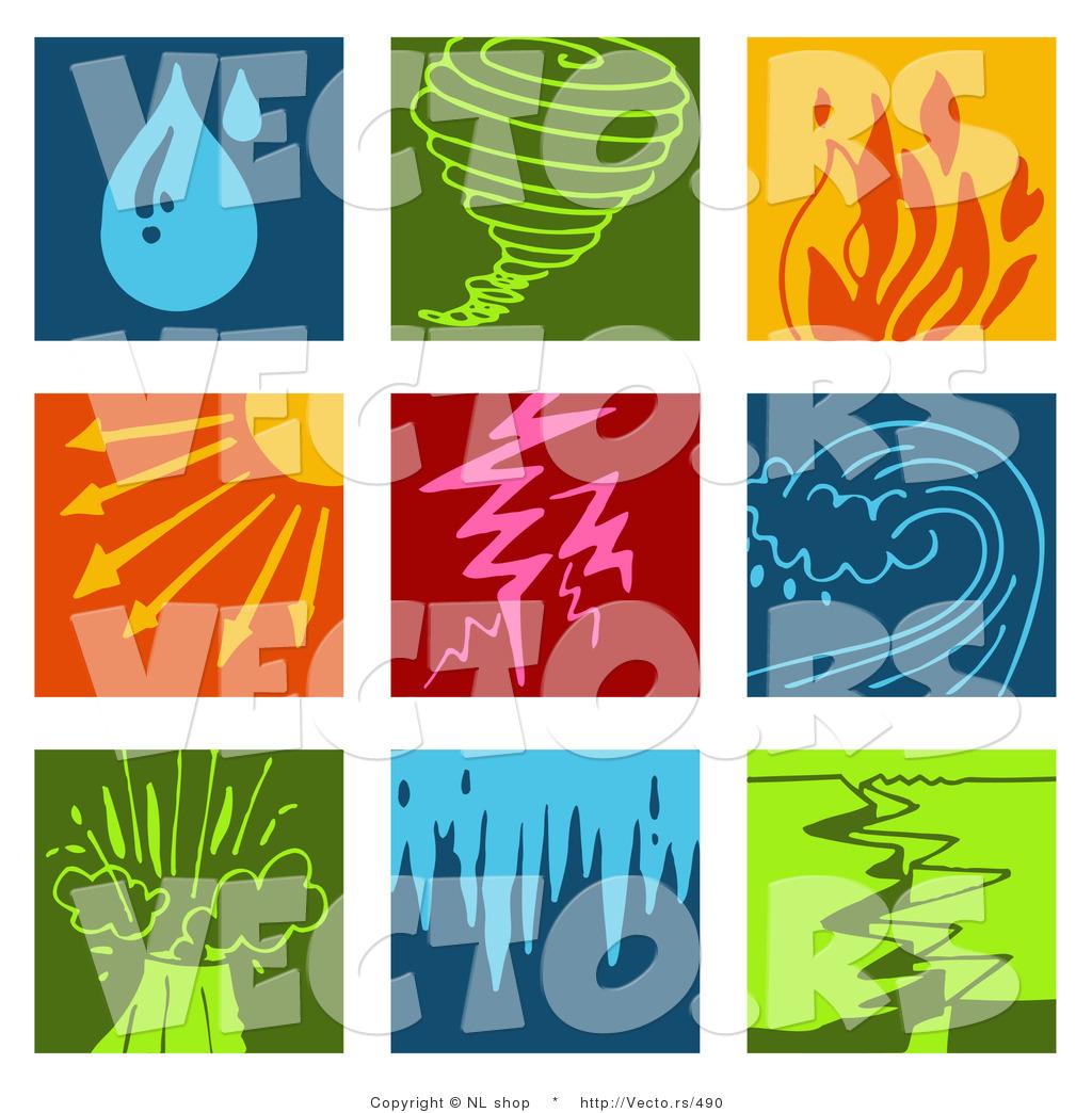 vector of 9 weather icons rain tornado fires sunny lightning