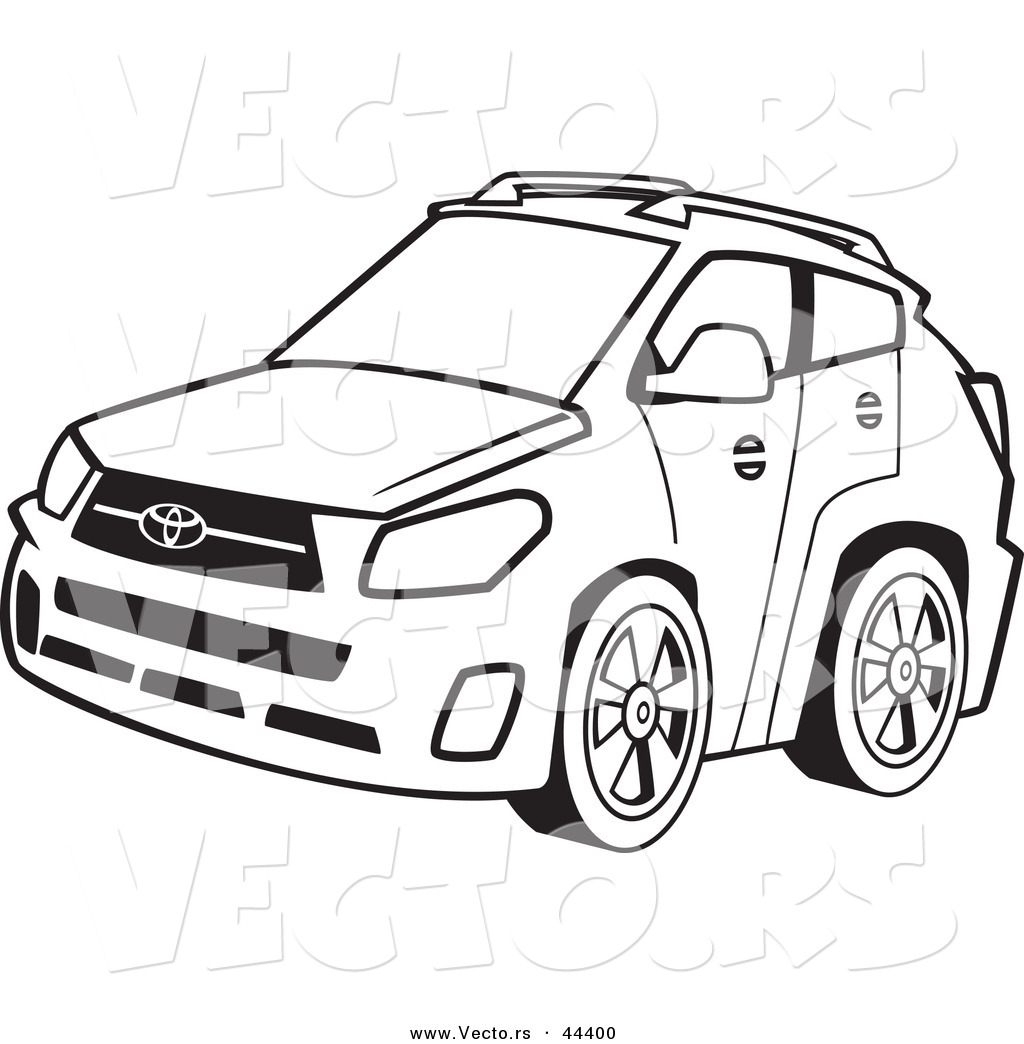 vector of a 4 door car coloring page outline