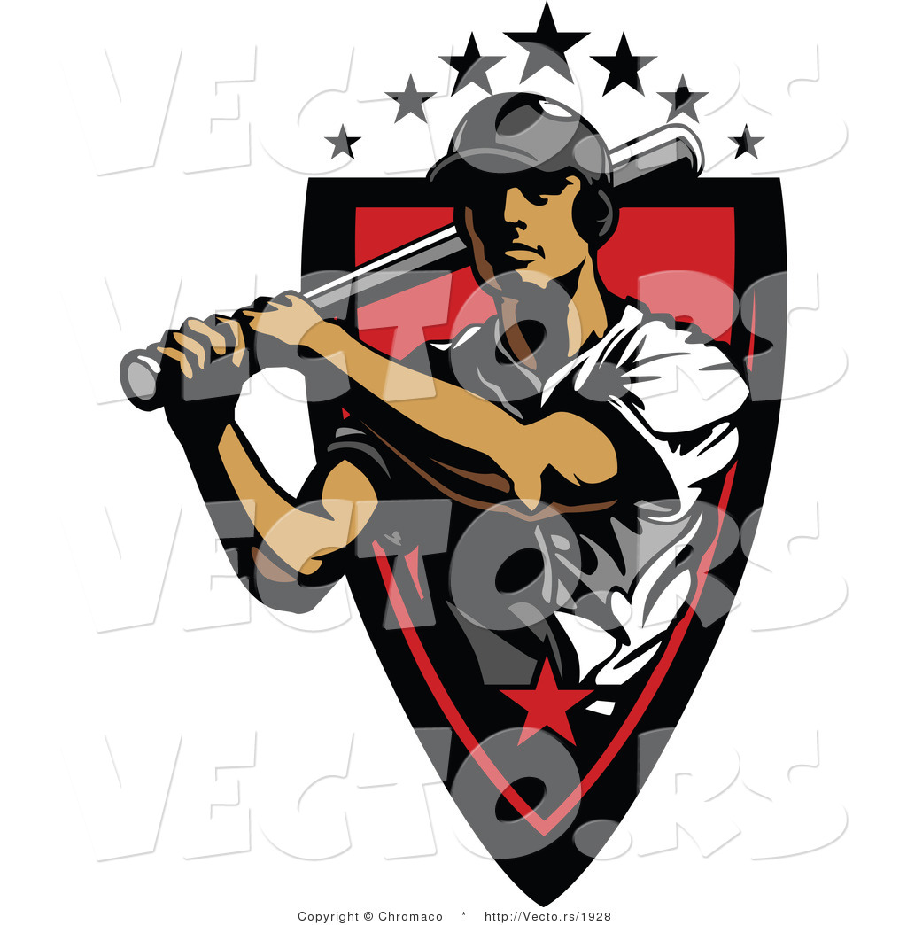 Vector of a 7 Star Baseball Player Athlete Holding a Bat