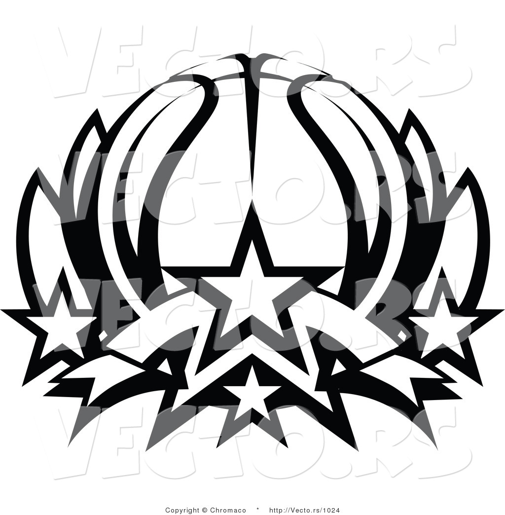 Vector of a Basketball Lotus with Stars - Black and White Line ...