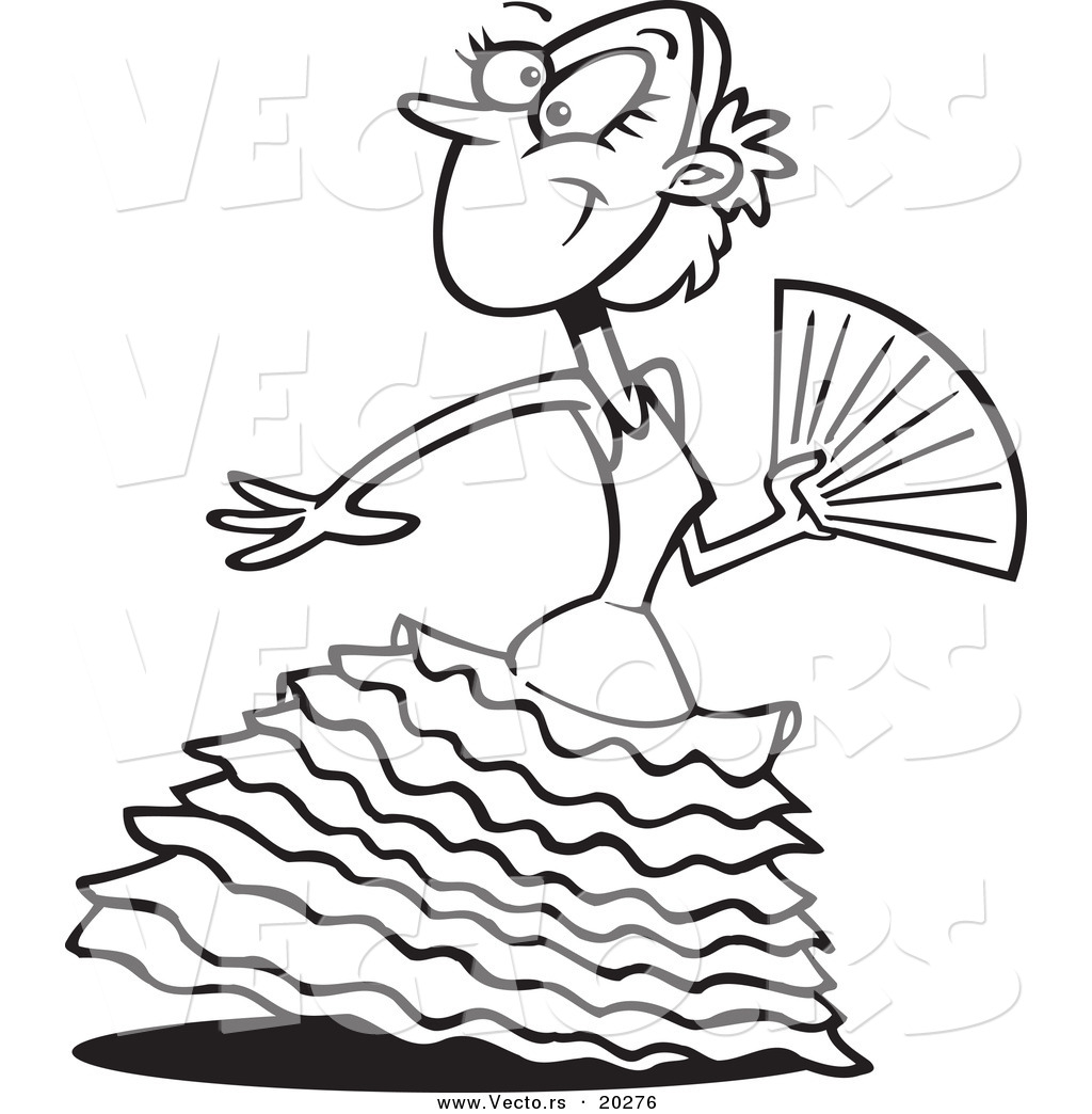 vector of a beautiful cartoon flamenco dancer coloring page