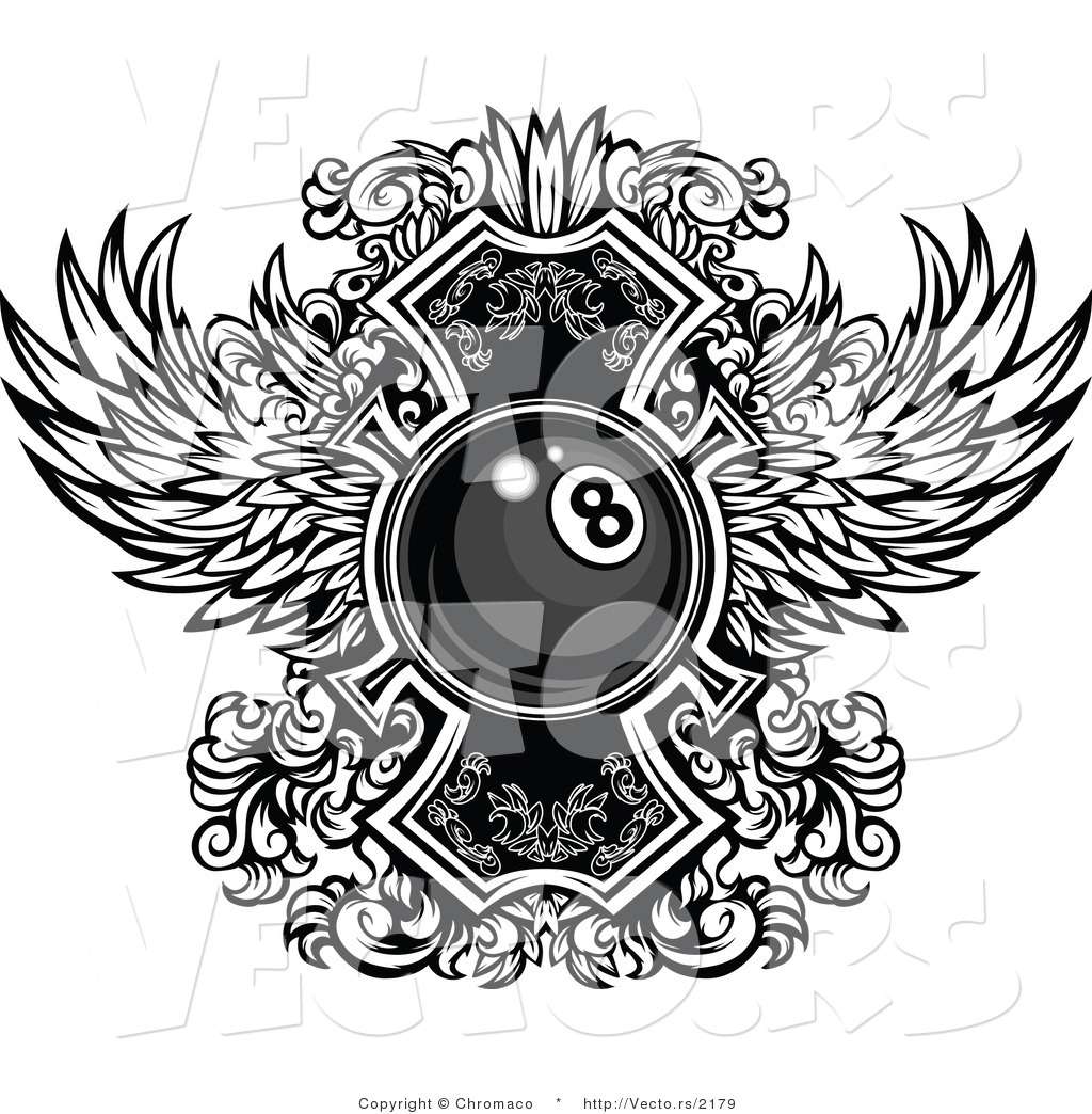 vector of a billiards eight ball with ornate wings design - black