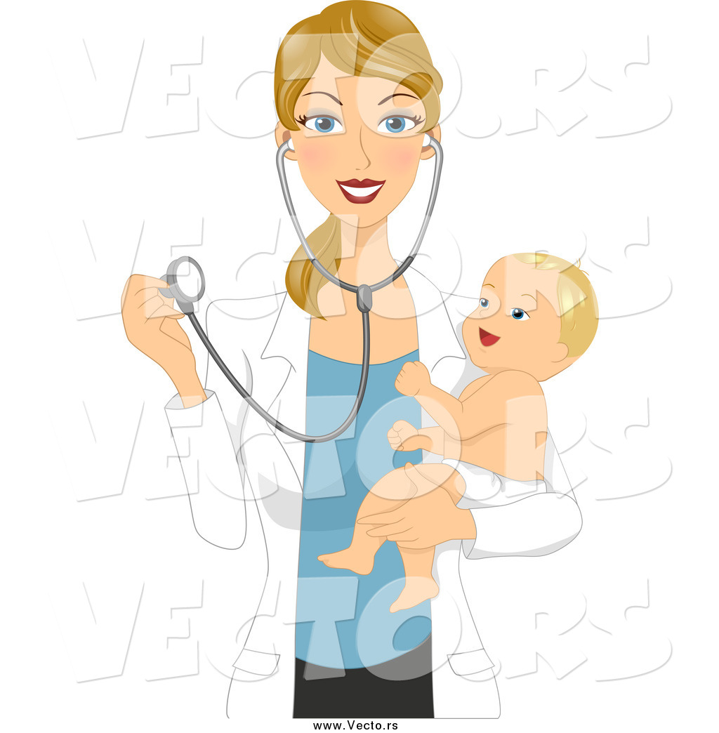 1520d8114 Vector of a Blond White Female Pediatric Doctor Holding a Happy Baby ...