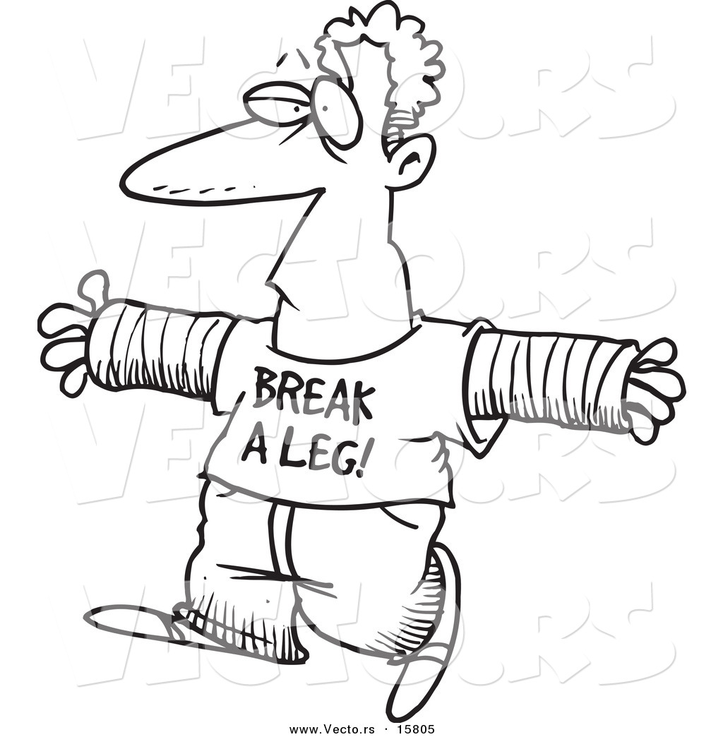 Vector of a Cartoon Accident Prone Man Wearing a Break a Leg Shirt ...