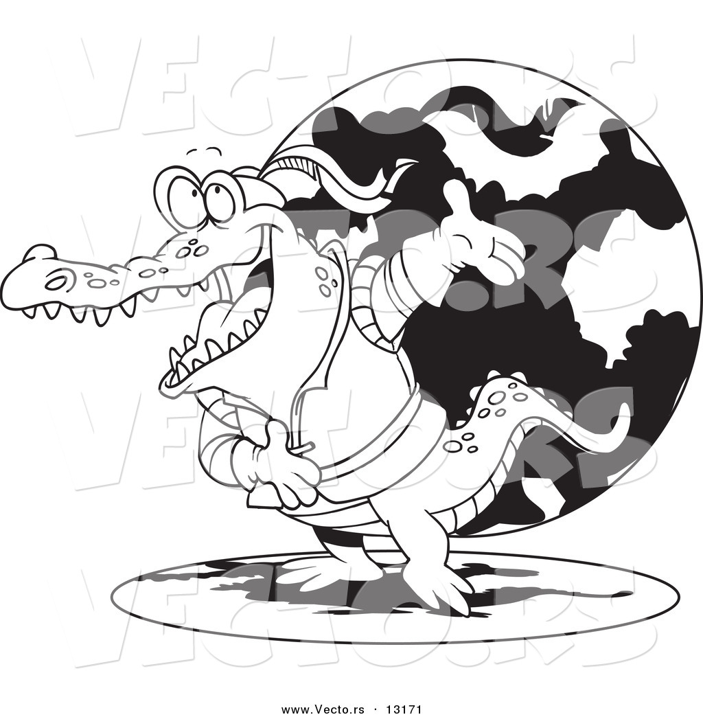 Vector of a Cartoon Actor Crocodile Bowing - Coloring Page Outline ...