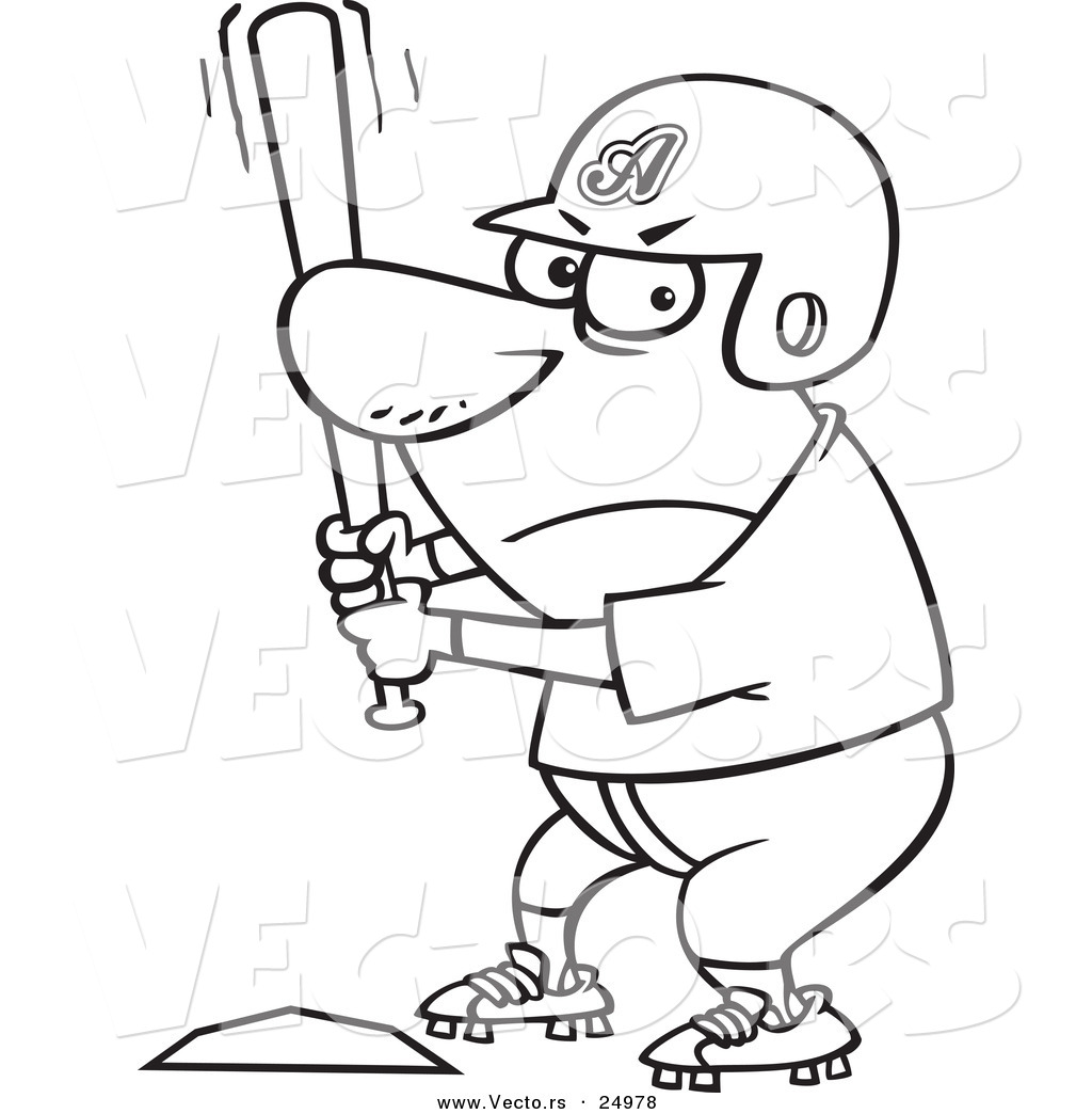 vector of a cartoon aggressive baseball player batting at home base Wiring Diagram Symbols vector of a cartoon aggressive baseball player batting at home base outlined coloring page