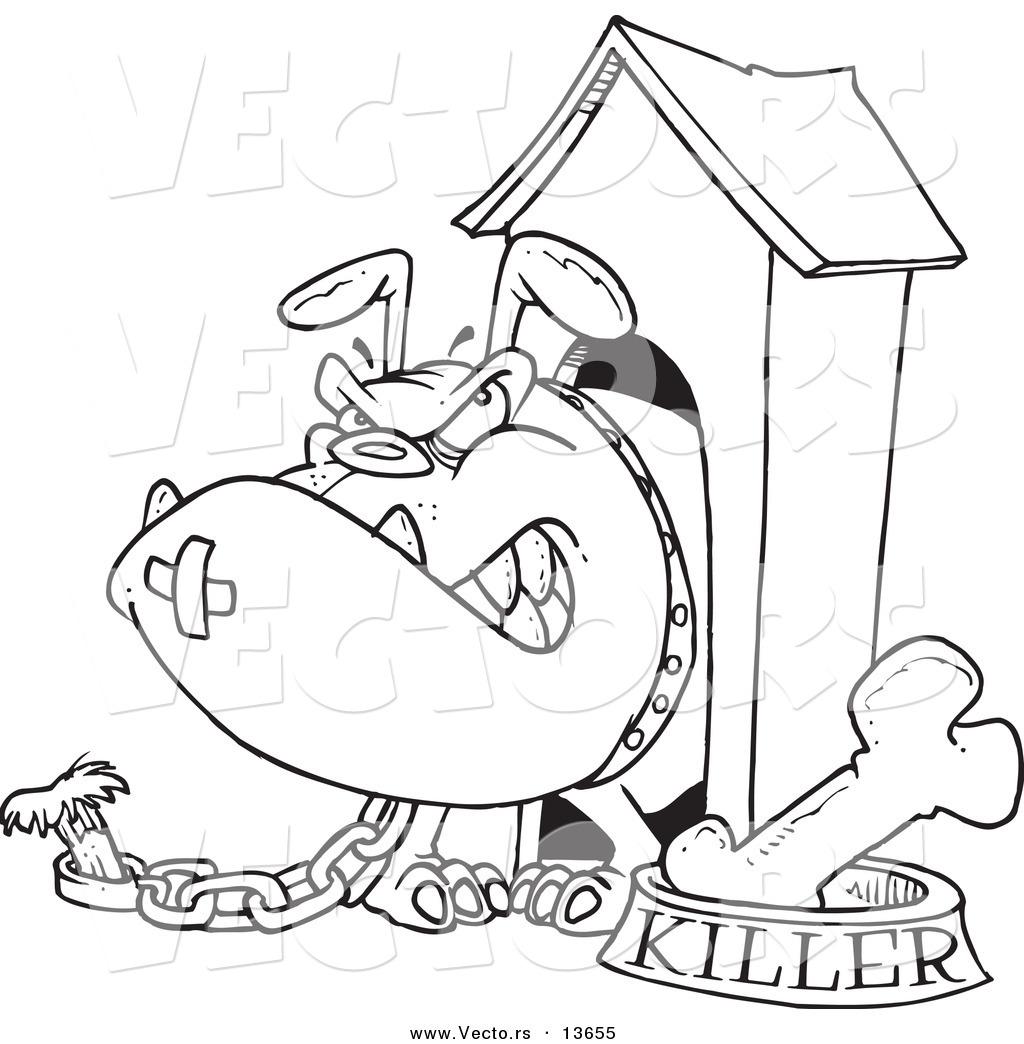 Vector of a Cartoon Aggressive Bulldog in His Dog House - Coloring ...