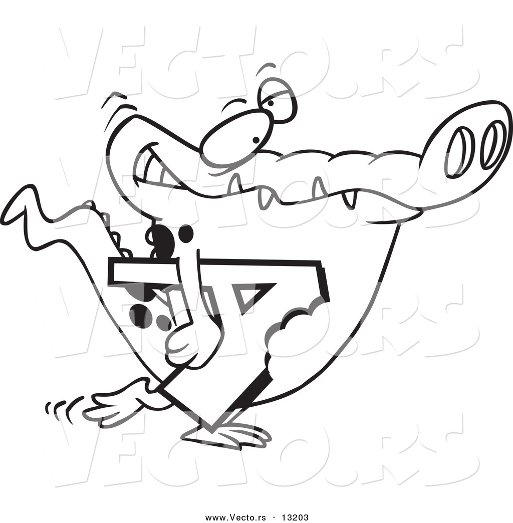 vector of a cartoon alligator carrying a bitten letter a coloring page outline