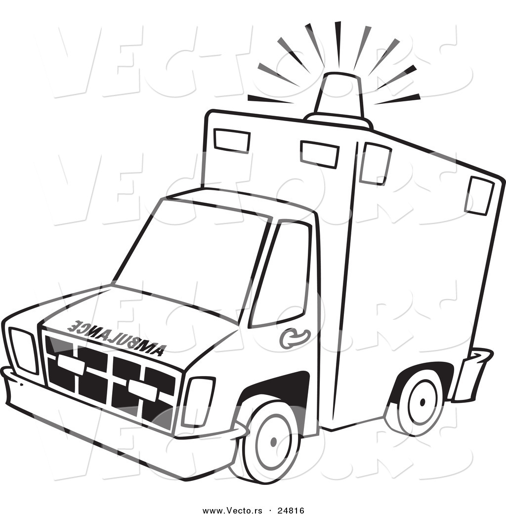 Clip Art Paramedic Coloring Pages vector of a cartoon ambulance with lit siren light outlined coloring page