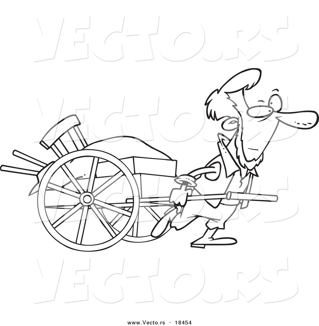 vector of a cartoon amish man pulling a hand cart outlined coloring page