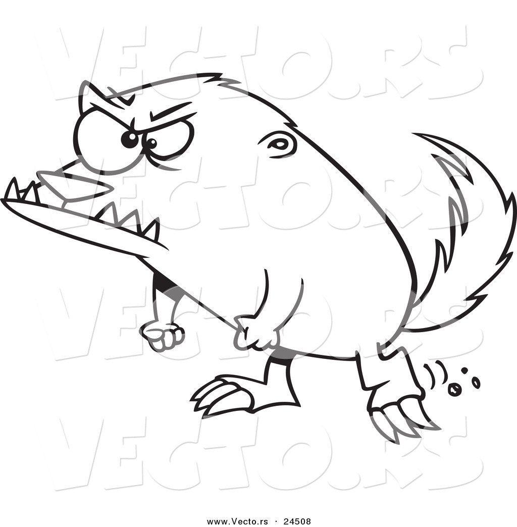 Vector Of A Cartoon Angry Honey Badger Outlined Coloring