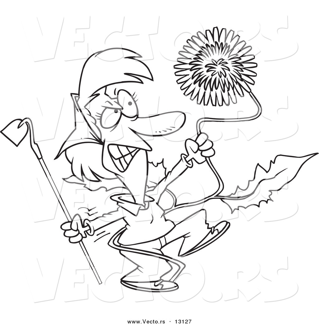 Vector of a Cartoon Angry Woman Pulling a Giant Dandelion Weed