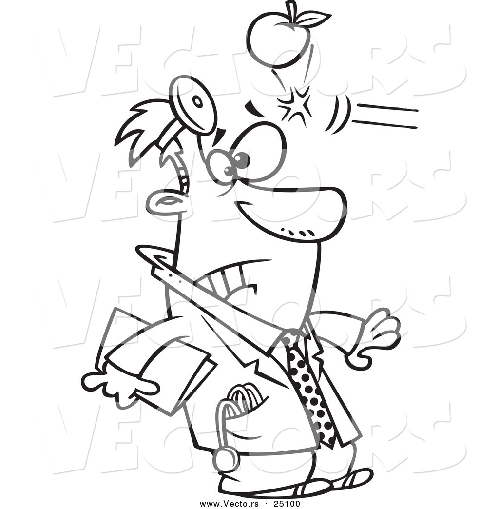 vector of a cartoon apple hitting a doctor in the head coloring