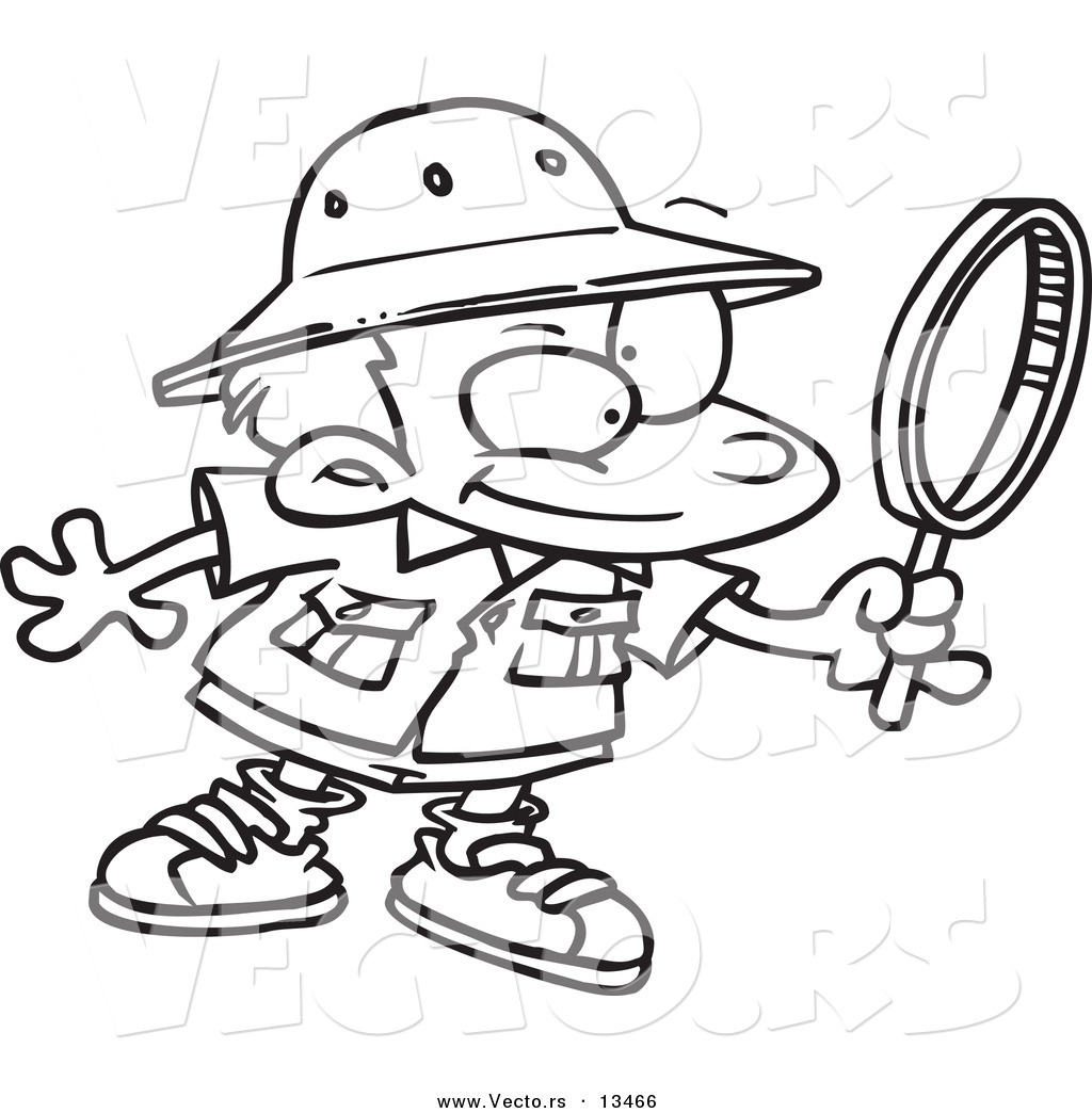 Vector Of A Cartoon Archaeology Boy Using A Magnifying
