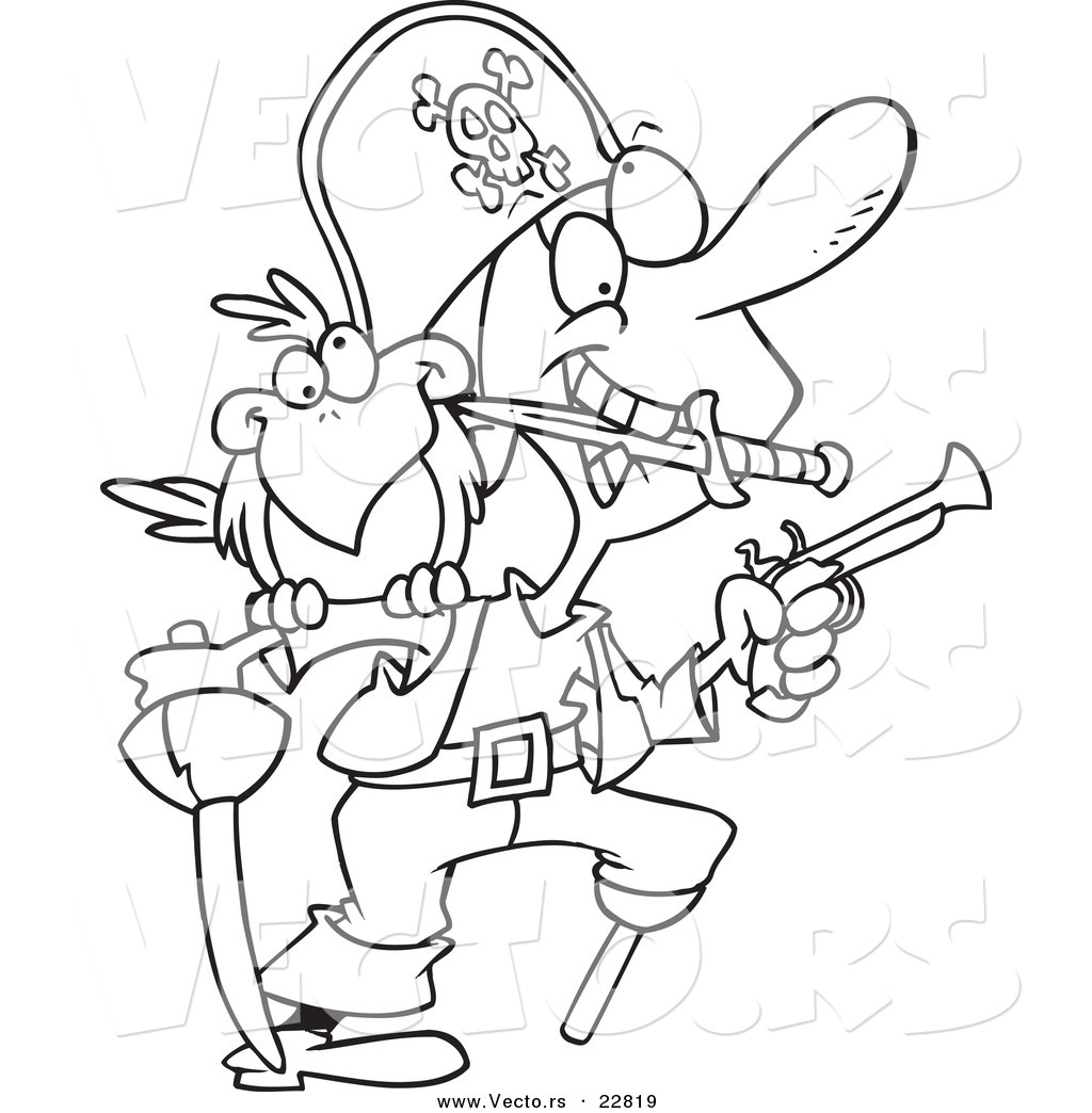 Vector of a Cartoon Armed Pirate - Coloring Page Outline by toonaday ...