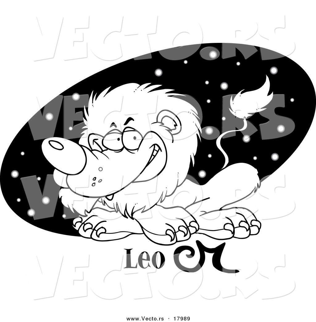 vector of a cartoon astrology leo lion over a black starry oval outlined coloring page