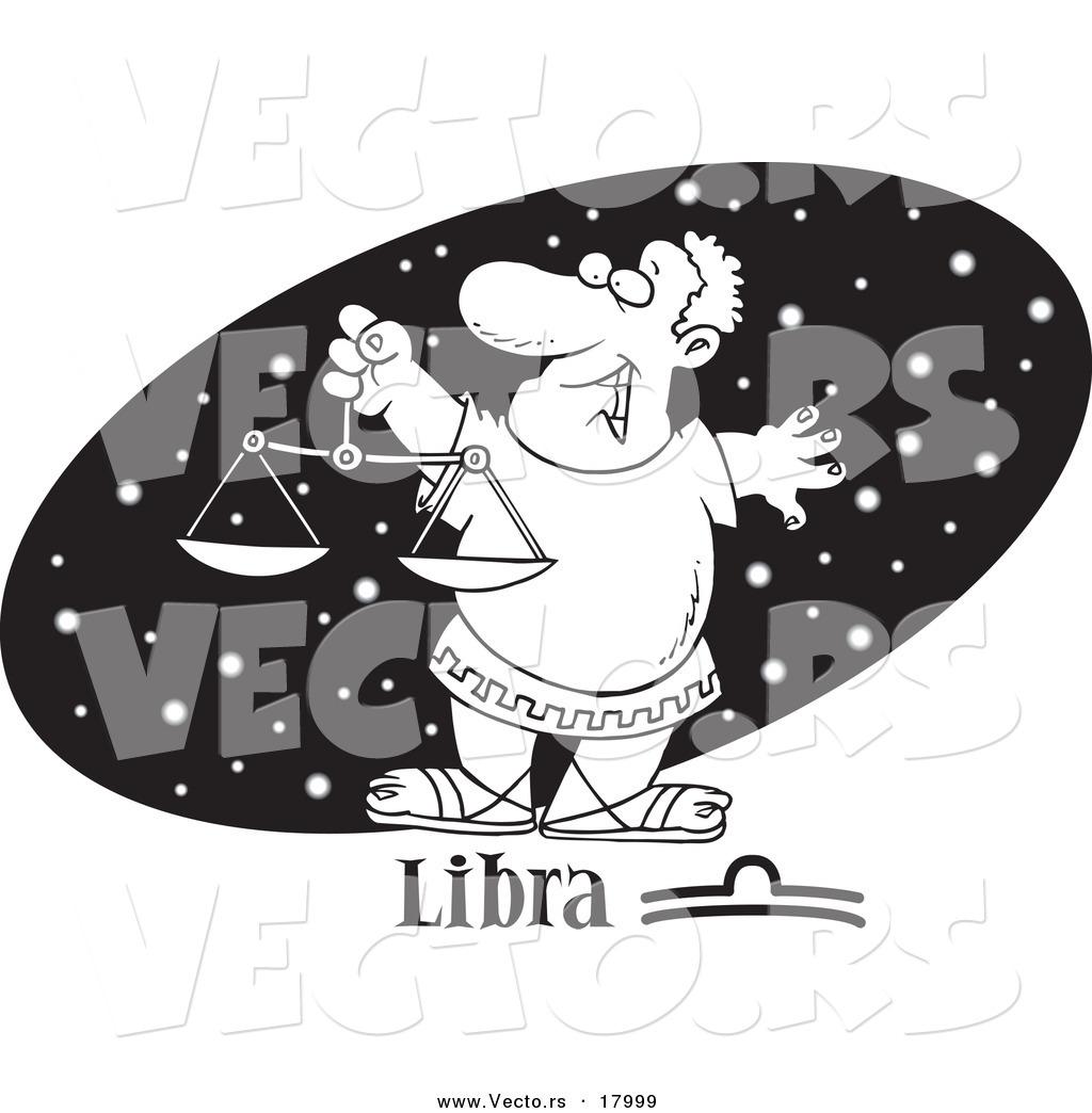 Vector of a Cartoon Astrology Libra Man over a Black Starry Oval