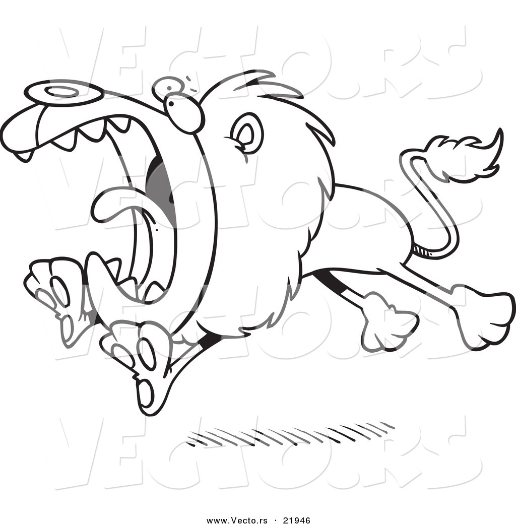 vector of a cartoon attacking lion outlined coloring page by