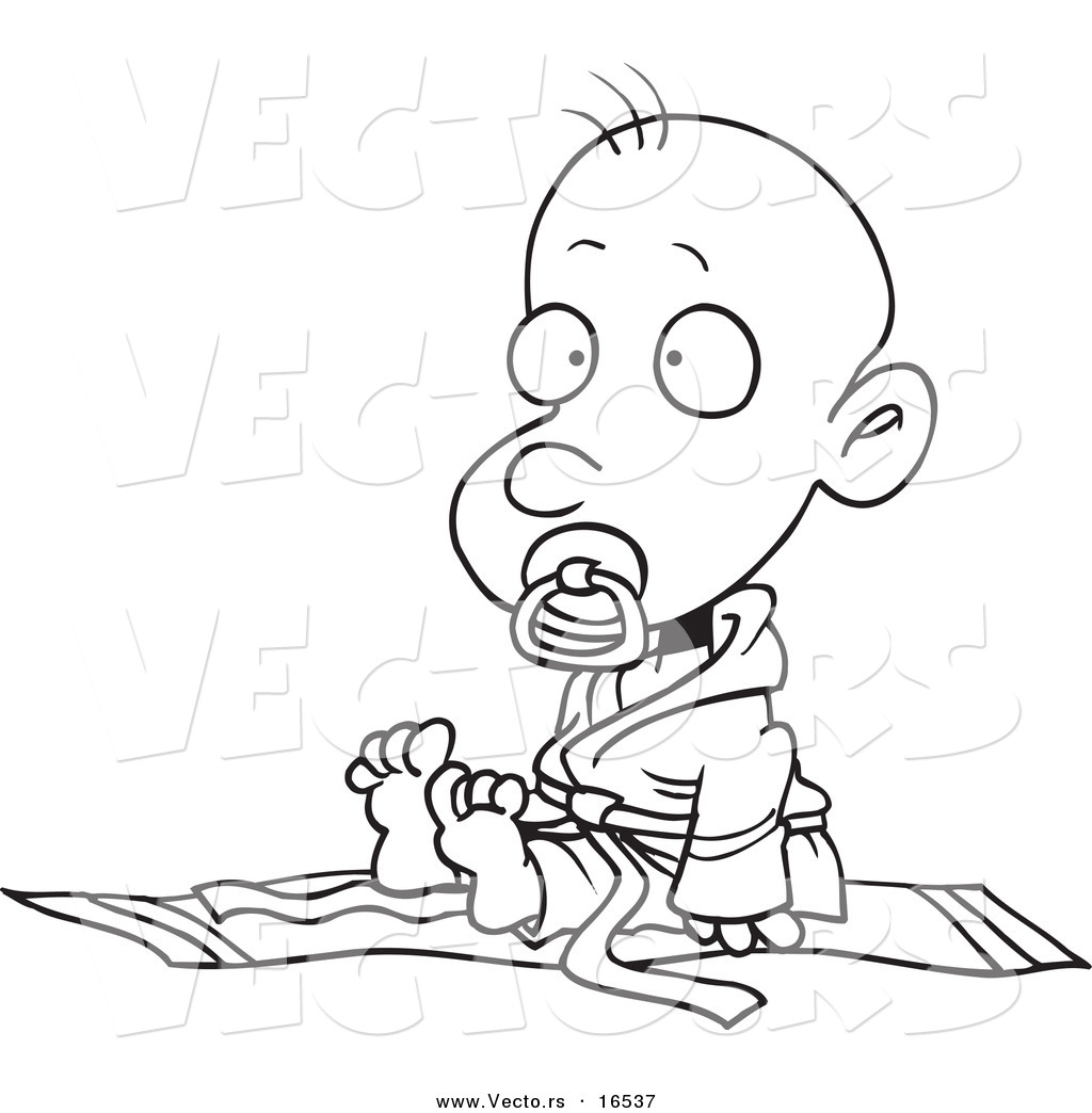 Free coloring pages karate - Vector Of A Cartoon Baby Boy In A Judoka Robe Outlined Coloring Page Drawing