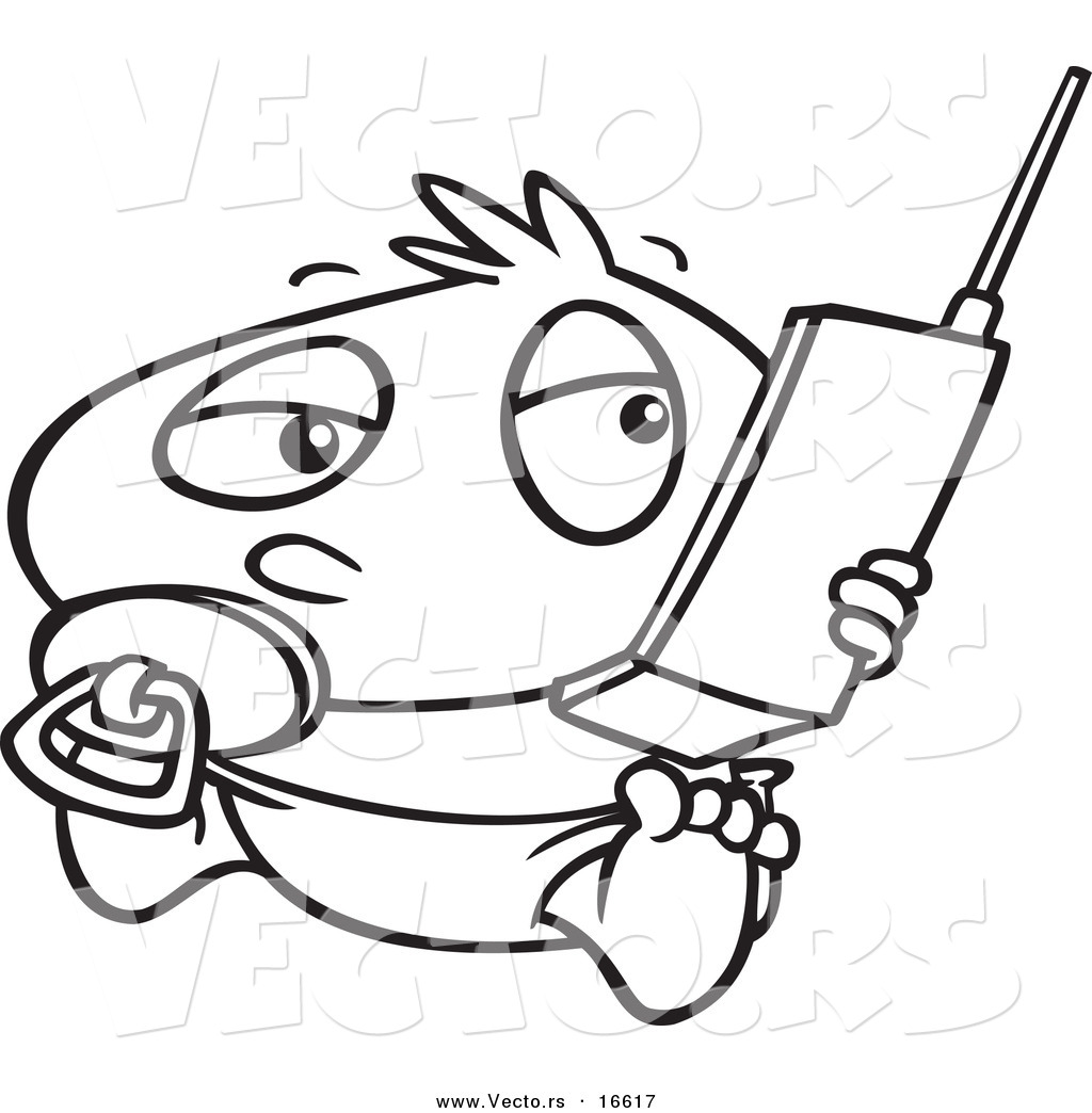 vector of a cartoon baby boy using a cell phone outlined coloring page drawing - Cell Phone Coloring Pages