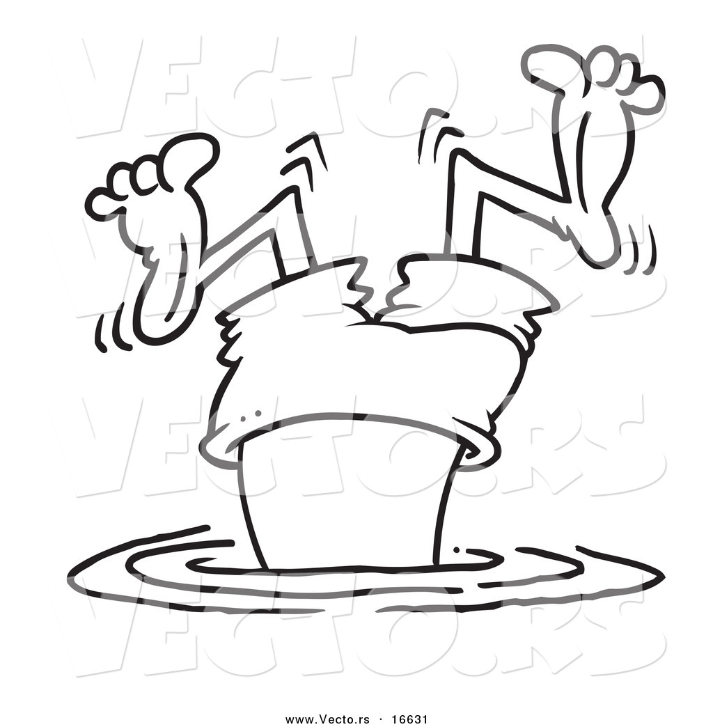 vector of a cartoon bad diver wiggling his legs outlined