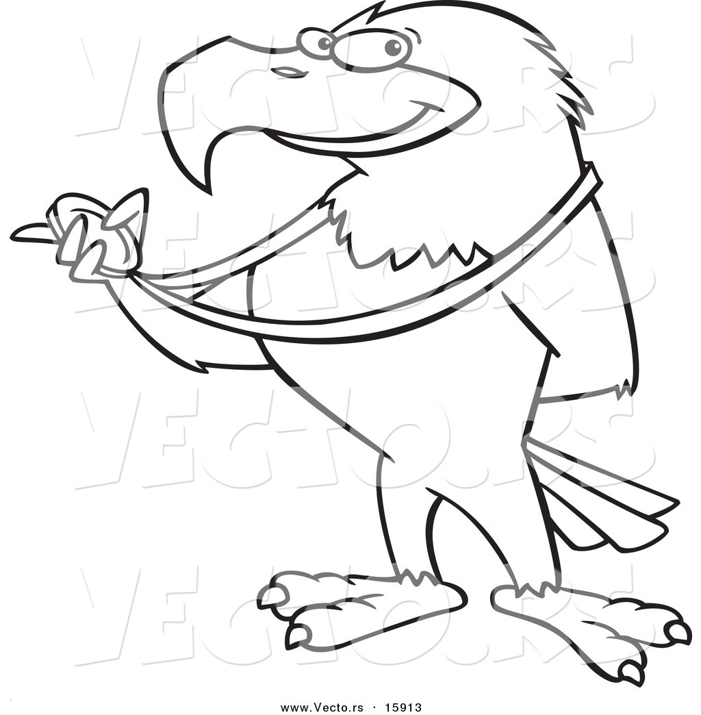 Vector of a Cartoon Bald Eagle Holding a Medal Outlined Coloring