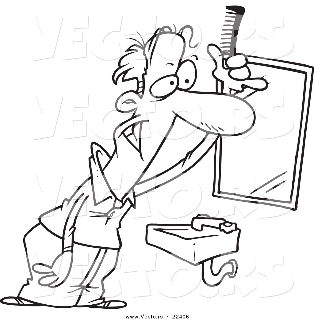 Vector of a Cartoon Balding Man Combing His Hair - Coloring Page ...