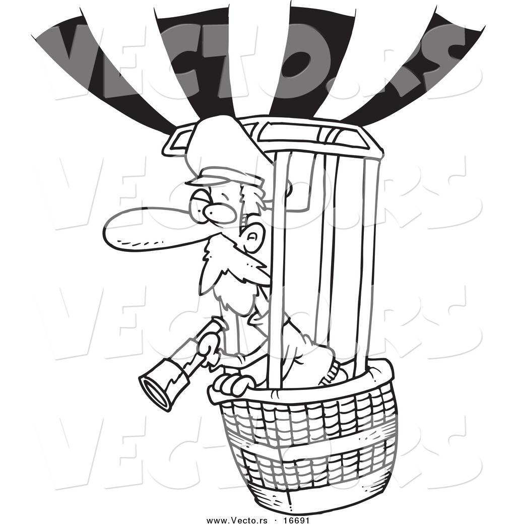 Vector of a Cartoon Balloonist Using a Telescope - Outlined Coloring ...
