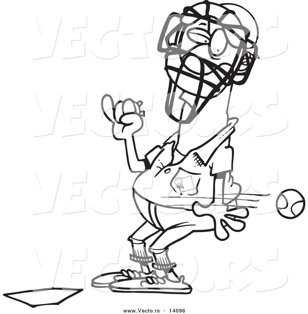 vector of a cartoon baseball flying past an umpire coloring page
