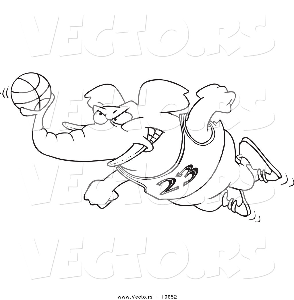 vector of a cartoon basketball elephant outlined coloring page