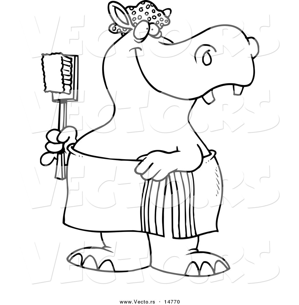 vector of a cartoon bath time hippo in a towel holding a scrub