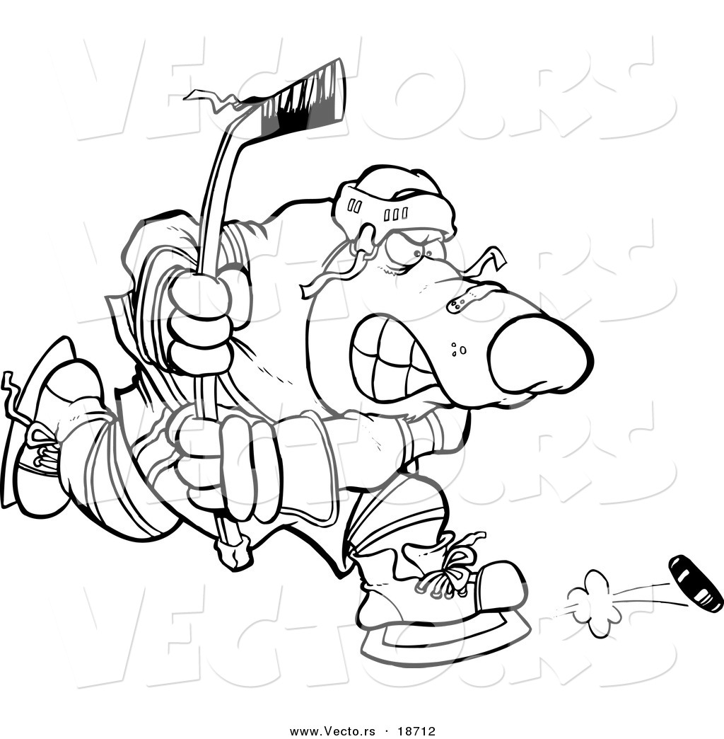 Free coloring pages hockey players - Vector Of A Cartoon Bear Hockey Player Outlined Coloring Page